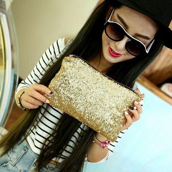 2018 New Fashion Dazzling Sequins Handbag Party Evening Bag Wallet Purse Glitter leopard inside Spangle Day Clutches 9 Colors