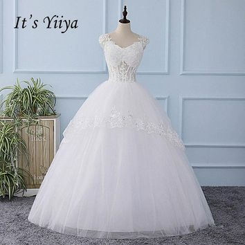 It's YiiYa Illusion V-neck Wedding Dress Sequined Tulla Pattern Appliques Brides Wedding Gowns Vestidos De Novia Casamento XL221