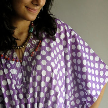 Light Purple White Retro Hostess Gown Polka Dots by silkandmore