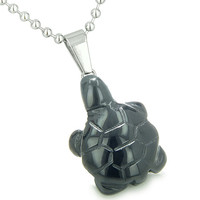 Good Luck Charm Turtle Amulet Black Agate Spiritual Healing Powers Pendant 22 Inch Necklace