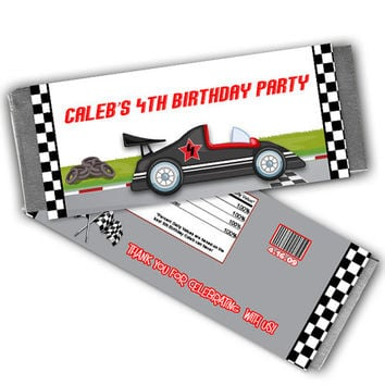 Red Race Car Birthday Party Favors Chocolate Candy Wrapper - Race Car Birthday - Boy Party Favor - Racing - Candy Bar - Personalized - Fast