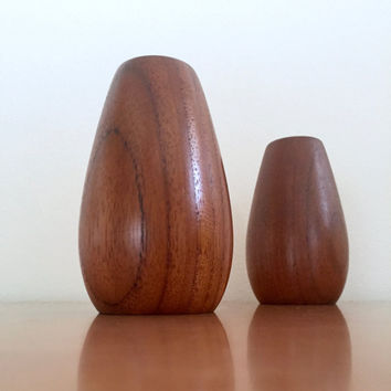 Vintage Danish Modern Turned Teak Wiggers Salt and Pepper Shakers