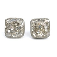 Glass glitter square studs earrings. Reclaimed wood jewelry by Starlight Woods. Hypoallergenic.
