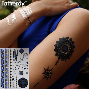 Metallic Gold Silver Arm Shoulder Body Art Temporary Tattoo Sexy Flash Tattoos Sticker Blue Color Compass Tribal feather Arabic