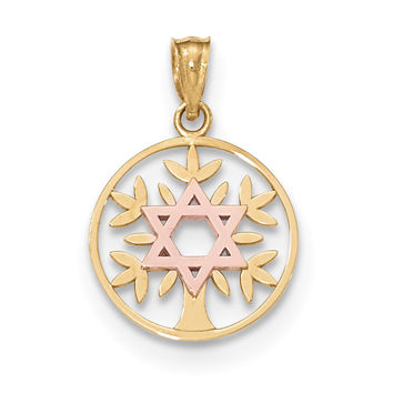 14k Two-tone Yellow & Rose Polished Star of David Tree of Life Pendant K5710