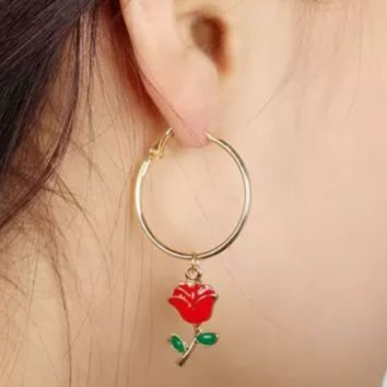 New Simple fashion rose flower circle earrings green leaves safflower Red