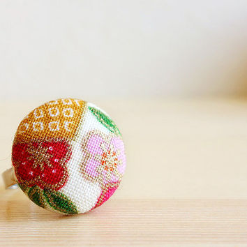 Ume Ring, Japanese plum blossom red pink white cotton, covered button adjustable ring - MANGETSU -