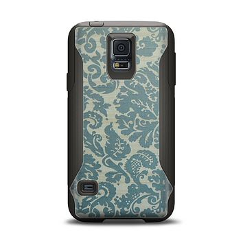 The Subtle Green Lace Pattern Samsung Galaxy S5 Otterbox Commuter Case Skin Set