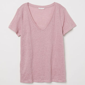 Linen top - Light pink - Ladies | H&M GB