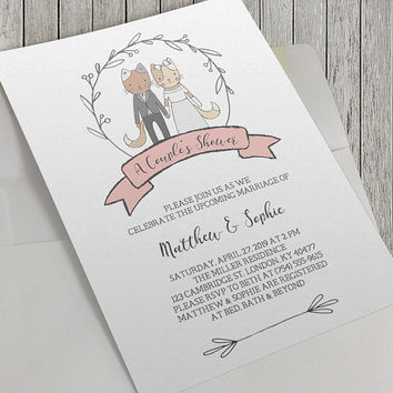 Printable Couple's Shower Invitation, Wedding Shower Invitation, 5x7 Inch, Charming Cat Illustrations, Modern Wedding, Bridal, Celebration