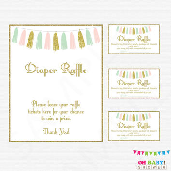 Pink Mint Gold Baby Shower Diaper Raffle, Diaper Raffle Tickets, Girl Baby Shower, Pink Mint Gold Baby Shower Games, Printable Baby, TASPMG