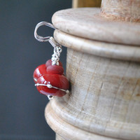 Drizzled Red Lampwork Glass Earrings, Cherry Red Drop Earrings on Sterling Silver, Valentine's Day Jewelry