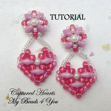 PDF Tutorial Beaded Earrings, SuperDuo Tutorial, Seed Bead Earrings, Earring Tutorial, Beadwork Tutorial, Earring Pattern,Tutorial