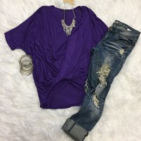 Knotted Open V Neck Top