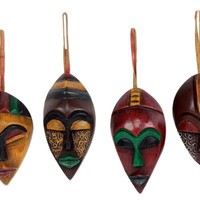 African Wood Christmas Ornaments (Set of 4) - Celebration Masks | NOVICA