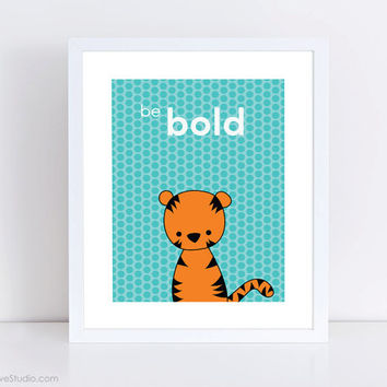 Tiger Nursery Art Print Kids Wall Home Decor Baby Boy Girl Safari Childrens Room Playroom Bedroom Cute Animal Illustration Shower Gift Ideas
