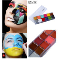 Body Painting Flash Tattoo Imagic Brand 12 Colors Face Paint Palette Halloween Makeup Temporary Tatoos Glowing Painting Make Up