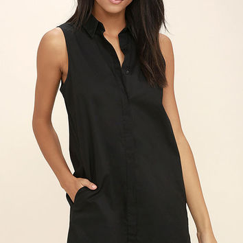 Prep Up Black Sleeveless Shirt Dress