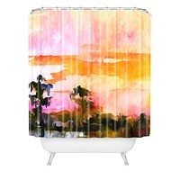 Ginette Fine Art Sunset In The Wetlands Shower Curtain