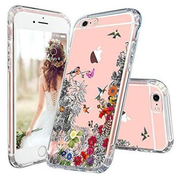 LMFXT3 iPhone 6 Case, iPhone 6s Clear Case, MOSNOVO Floral Humming Bird Flower Clear Design Transparent Plastic Hard Slim Case with Soft TPU Bumper Protective Case Cover for Apple iPhone 6 6s (4.7 Inch)