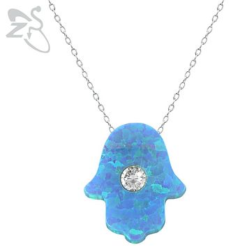 Hamsa Hand Opal Pendant Necklace 925 Sterling Silver