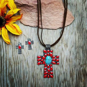 Red & Turquoise Cross Necklace