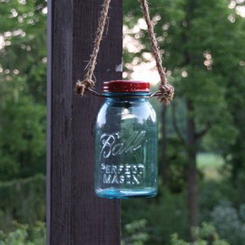 Mason Jar Solar Light with Hanger-   Antique Blue Ball Mason Jar   - Perfect Mason Solar Jar - Quart Jar