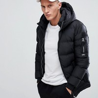 Pull&Bear Hooded Puffer Jacket In Black at asos.com