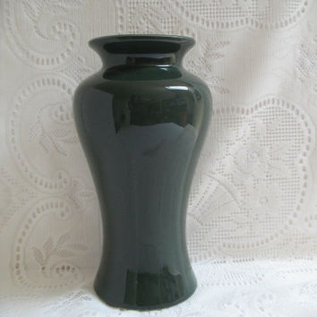 Vintage Vase, Harris Potteries, Dark Green Vase, Home Decor