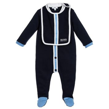 Hugo Boss Navy Blue Romper & Bib Gift Set