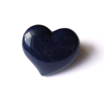 Vintage Chunky Acrylic Heart Ring - Navy Blue Plastic Ring - Huge Puffy Plastic Ring - Mod Retro Bold Style - Pop Art Ring - Size 8