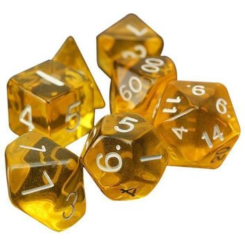 7 Dice Sided D4 D6 D8 D10 D12 D20 Mtg Magic The Gathering D Transparent Yellow