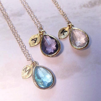 Initial Necklace Personalized Necklace Crystal Birthstone BridesMaid Mothers Day Gift For Her Mint Purple Amethyst Aqua Blue Christmas Gift