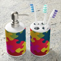Puzzled Soap Dispenser And Toothbrush Holder