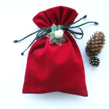 Christmas gift drawstring bag Small red cotton velveteen fabric pouch with handmade  flower decor