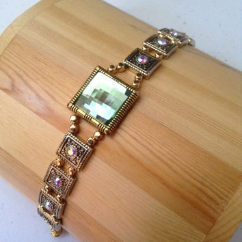 Castle Jewels,bracelet, green glass, gold bracelet, Swarovski crystals, jewelry, magnetic clasp bracelet, gold and green jewelry