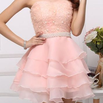 Pink Patchwork Pleated Off Shoulder Backless Sleeveless Bridesmaid Chiffon Tutu Party Mini Dress