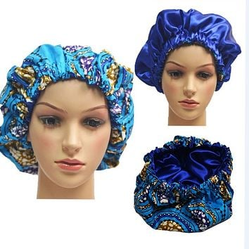 Blue African print Hair Bonnets