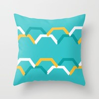 Teal Steps Throw Pillow by spaceandlines