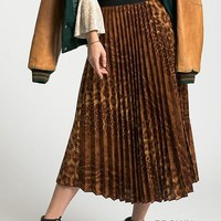 Flower Leopard Pleated Skirt