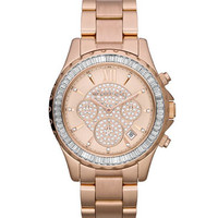 Michael Kors Mid-Size Rose Golden Stainless Steel Madison Chronograph Glitz Watch