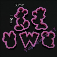 Topnew 5pcs/set Cartoon Mickey Mouse Candy Cookies Cutter Mold Fondant Chocolate Embossing Mold