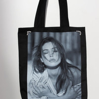 Handmade one of a kind Black Cotton Printed Pearls framed Monica Bellucci / Long Straps Handbag