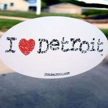 DCCKG8Q Ink Detroit I Heart Detroit Bumper Sticker