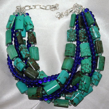 Exciting Unique Turquoise Multi-Strand Cobalt Dark Blue Glass Beaded Statement Necklace