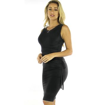 Black Ruched Bodycon Tank Dress