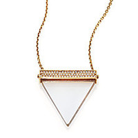 Michael Kors - Brilliance Statement Rock Crystal Triangle Long Pendant Necklace - Saks Fifth Avenue Mobile