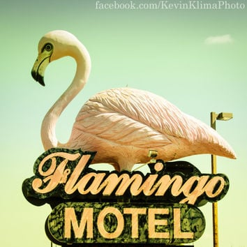 Flamingo Motel - Vintage Neon Sign Photography Print - 8x8 square photo