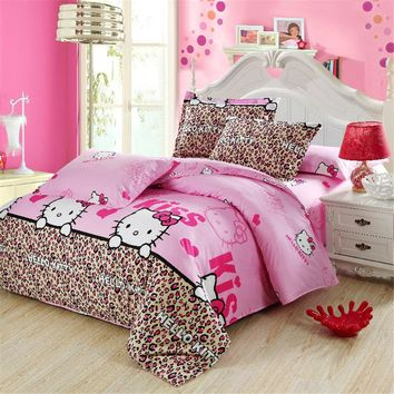 Animal series Bedding Set Pink KT Cat Cartoon Kids 4Pcs 100%Cotton Duvet Cover Flat Sheet  Pillowcase twin full queen king size