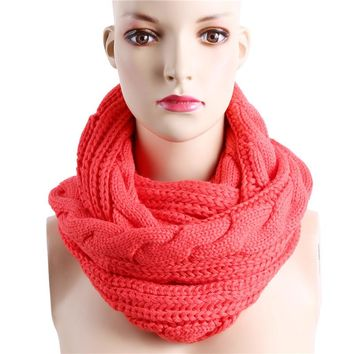 Winter Cable Knitted Infinity Scarf Unisex Lovers Couples Ring Snood Scarves Warm Knitting Round Circle Scarf Wraps NQ988829